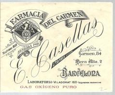 SOBRE FARMACIA DEL CARMEN   BARCELONA - Publicidad