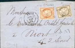 FRANCE LETTRE TYPE CERES SIEGE  PARIS ETOILE  POUR NIORT 25 NOVEMBRE 1874 TB - 1870 Siège De Paris