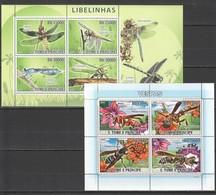 E1153 2008,2009 S. TOME E PRINCIPE INSECTS LIBELINHAS VESPAS 2KB MNH - Insekten