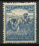 Fiume 1918 Sass. 11a Nuovo * 40% Soprastampato Capovolta - 8. Occupazione 1a Guerra