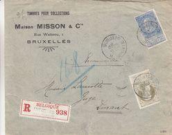 Belgique - Lettre Recom De 1905 ° - Oblit Bruxelles Rue De La Chapelle- Exp Vers Dinant - Cachet Ovale Bruxelles - 1893-1900 Thin Beard