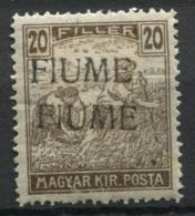 Fiume 1918 Sass. 10 B Nuovo * 80% Soprastampato Doppia, 20 F. Bruno - 8. WW I Occupation