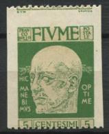 Fiume 1920 Sass. 113 N Nuovo * 60% Firmato Non Dentellato Verticalmente, 5 C - 8. Occupazione 1a Guerra