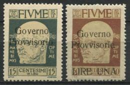 Fiume 1921 Sass. 151, 154 Nuovo * 100% Governo Provvisorio - 8. Occupazione 1a Guerra