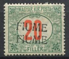 Fiume 1918 Nuovo * 40% Soprastampato Doppia, 20 F. Segnatasse - 8. Occupazione 1a Guerra