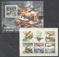 E1163 2010 S.TOME E PRINCIPE AVIATION AVIOES WWII WORLD WAR II 1KB+1BL MNH - 2. Weltkrieg