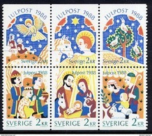 SWEDEN 1988 Christmas  MNH / **.  Michel 1510-15 - Unused Stamps