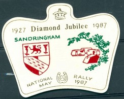 Badge  - National Rally - Diamond Jubilee - 1927 - 1987 - Sandringham May 1987 - Autres Collections