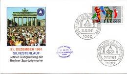 "(BT1) BRD Sonderumschlag ""Letzter Gültigkeitstag Der Berliner Sportbriefmarke"" EF WB Mi 836 SSt 31.12.1991 BERLIN 12 - [7] République Fédérale"