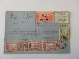 Enveloppe Recommandée (n°993) Nouvelles-Hébrides Vers Madagascar Avec 5 Timbres YT N°115, 116, 199 (bande De 3) - 1949 - New Hebrides