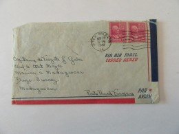 Enveloppe Etats-Unis (USA) Vers Madagascar (Marine Nationale) - Bande De 2 Timbres YT N°394 - Cachet 1948 - Marcophilie
