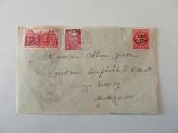 Enveloppe Réunion Vers Madagascar Avec Timbres Surchargés CFA YT N°284, 289, 300 - Cachet 1949 - Réunion (1852-1975)