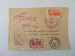 Enveloppe Officielle A.O.F (Sénégal) Vers France (Marine Etat-Major) Avec Timbres YT N°33 Et 39 - Cachet 1955 - A.O.F. (1934-1959)
