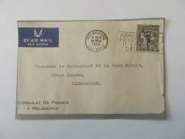 Façade D'enveloppe Consulat De France Australie Vers Madagascar Avec Timbre Poste Aérienne YT N°7 - Cachet 1950 - 1937-52 George VI