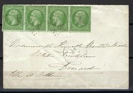 France, N° 20 En Bande De 4 Sur Lettre Pour Dinard Arrivée Le 2 Mars 1871 - Marcophilie (Lettres)