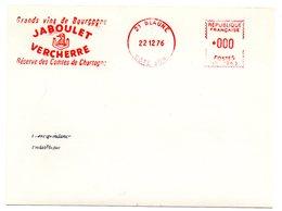 VIGNE & VIN = 21 BEAUNE 1976 = FLAMME ROUGE = EMA  ' JABOULET VERCHERRE / Comtes De CHARTOGNE ' - Postmark Collection (Covers)