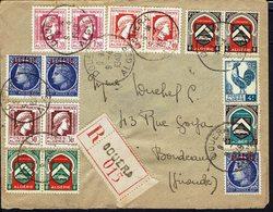 ALGERIE - 1948 - Bel Affranchissement Varié à 20.10 Fr Sur Enveloppe Recommandée De Douera Vers Bordeaux - B/TB - - Lettres & Documents