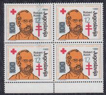 Yugoslavia 1988 Robert Koch - Tuberculosis Surcharge, Error In Printing - Smeared Overprint, MNH (**) Michel 165 - Non Dentelés, épreuves & Variétés