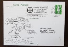 FRANCE Scoutisme, Entier Postal Avec Obliteration SCOUTS DE FRANCE La Tour Du Pin 1940-1990 - Scouting