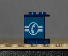 Lego Panneau Bleu Transparent 1 X 2 X 2  Avec Motif Telephone Ref 4864apx15 - Lego Technic