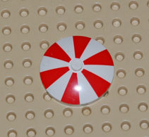 Lego Radar Parasol Blanc Et Rouge 4x4 Ref 3960pb003 - Lego Technic