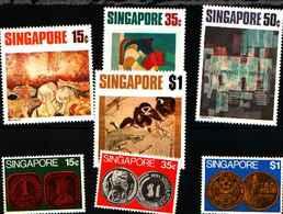 72159,) LOTTO DI  FRANCOBOLLI DI SINGAPORE-MNH** SERIE COMPLETE N. 149-51-MONETE--152-55-ARTE CONTEMPORANEA 1972 - Singapore (1959-...)