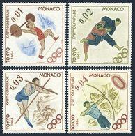 Monaco 592-595,MNH.Michel 784-787. Olympics Tokyo-1964.Judo,Archery,Pole Vault, - Summer 1964: Tokyo