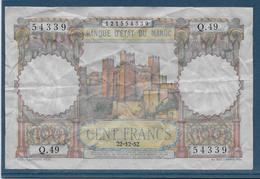 Maroc - 100 Francs - 22-2-1952 - Pick N°45 - TB - Morocco