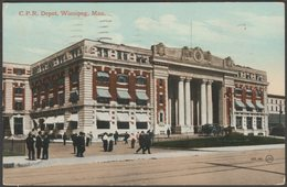 Canadian Pacific Railway Depot, Winnipeg, Manitoba, 1910 - Valentine's Postcard - Winnipeg