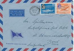 SINGAPORE HAMBURG AMERIKA LINE MS FRANKFURT 1956 TO SWITZERLAND - Singapour (1959-...)