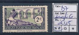 AEF FRANCE LIBRE YVERT 137 PARAFIN GUM MNH - A.E.F. (1936-1958)