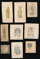 9 ORIGINELE TEKENINGEN VAN  ZILVERSMID BOURDON GENT UIT PRESENTATIEBOEK +-  5X3.5 CM - ZIE BESCHRIJF - Devotion Images