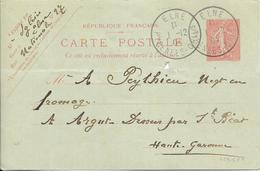 LOT 1809244 - ENTIER 10 C SEMEUSE LIGNEE DE ELNE DU 1 DECEMBRE 1904 POUR ARGUT DESSOUS - Standard Postcards & Stamped On Demand (before 1995)