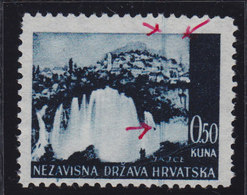 Croatia NDH 1941 Landscapes, Error - Vertical Blue Line, Without Gum On The Back; Michel 48 - Croatie