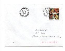 OBLITERATION DE SAINTE CECILE SAONE ET LOIRE 1989 - Marcophilie (Lettres)