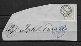 DANEMARK DENMARK YVERT NR. 15 SUR FRAGMENT CIRCULEE 1869 KOBENHAVN A ERQUELINES BELGIUM BELGIE BELGIQUE VOIR SCAN - 1864-04 (Christian IX)