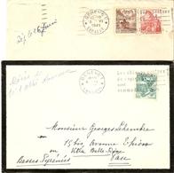 Suisse 1941 - Petit Lot De 2 Lettres -  Flamme Les Chèques Postaux De Voyage Sont Commodes - De Genève à Pau- Exp. Lett. - Marcophilie
