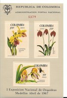 COLOMBIA YEAR 1967, SOUVENIR SHEET   ORCHIDS, FLOWERS, FIRST NATIONAL EXHIBITION SCOTT 768 C491a Michel Block 27 - Colombia