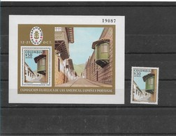 COLOMBIA YEAR 1978, ESPAMER 78, PHILATELIC EXHIBITION OF AMERICAS, SPAIN AND PORTUGAL SOUVENIR SHEET PLUS SINGLE STAMP - Colombia