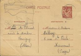 LOT 1809257 - ENTIER 80 C IRIS DE LOUVIGNY DU 21 AOUT 1941 POUR MIRECOURT - Standard Postcards & Stamped On Demand (before 1995)