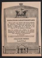 Pub Papier 1919 Accessoire Automobile Raditeur CHAUSSON Automobiles Asnieres Sur Seine Radiateurs - Advertising