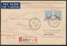 Houyoux - N°200 Et 248 En Paire Sur Imprimé En Recommandé Par Avion De Bruxelles Vers Poste Restante à Las Palmas - 1922-1927 Houyoux