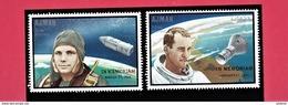 OVERPRINT (IN MEMORIAM). AJMAN 1969. SPACE. GAGARIN WHITE. 2V. MNH. Mi - 459-60A, 35 EUROS. R2018v.16.0d - Espacio