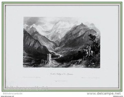 GRAVURE XIXéme Siécle. *CHATEAU & VALLEE D'OO < H. PYRENEES * Par Thomas ALLOM - Stampe & Incisioni