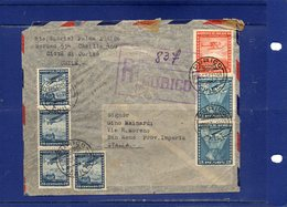 ##(DAN189)-1949 - Air Mail Registered Cover From Curico To Italy - Cile