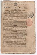 AUVERGNE  - Journal De L'ALLIER ( Nouvelles Politiques Et Annonces Judiciaires)  Du 05/07/1821 16 Pages    423 - 1800 - 1849