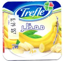 "Opercule Cover Yaourt Yogurt "" Trèfle "" Aromatisé Banane Banana New Design Yoghurt Yoghourt Yahourt Yogourt Opercules - Opercules De Lait"