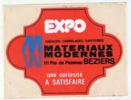 .STICKER .. AUTOCOLLANT . BEZIERS . EXPO MATERIAUX MODERNE . FAIENCES CARRELAGES SANITAIRES . 111 ROUTE DE PEZENAS . - Stickers