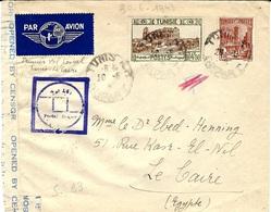 30-5-43 - Réouverture Du Vol Postal TUNIS - Le CAIRE  Avec Censure Egyptienne -Saulgrain 83 - Tunisia (1888-1955)
