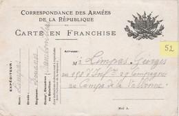 N°52 / Carte Postale 1914 / FM Franchise Militaire / LIMPAS Douanes 88 Rambervillers - 1914-18